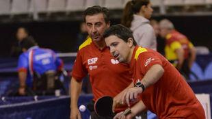 Jorge Cardona y Juan Bautista Pérez disputando las pruebas de equipos...