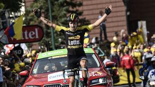 El esloveno Primoz Roglic venci� la etapa del Tour en Serre...