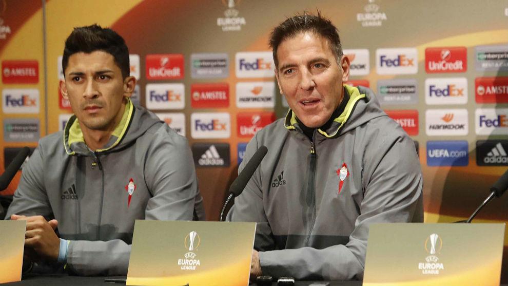 Pablo Hernández y Berizzo durante una rueda de prensa