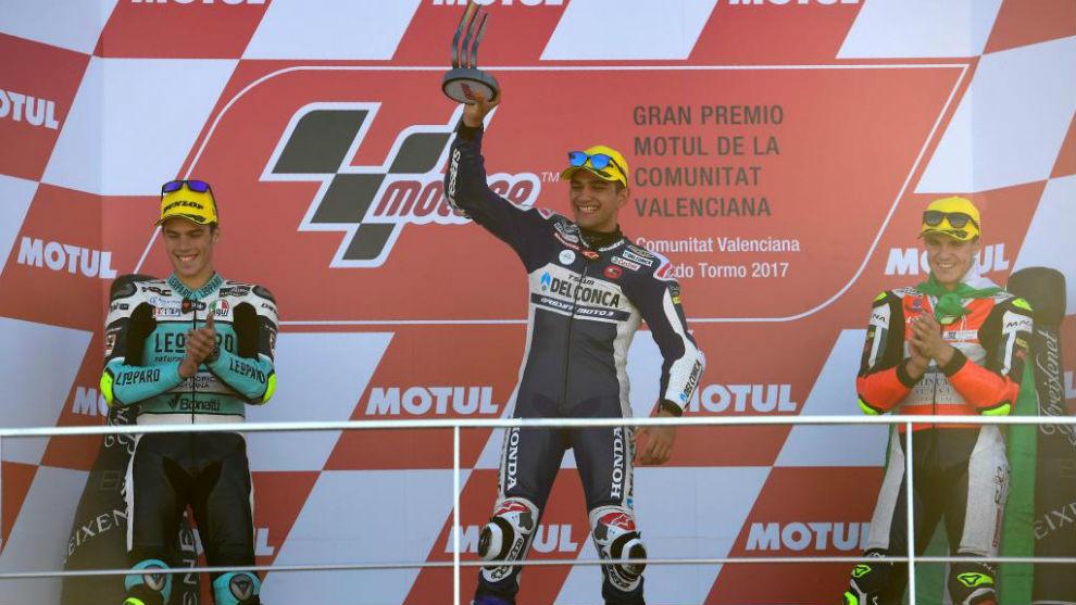 El podio español en Cheste