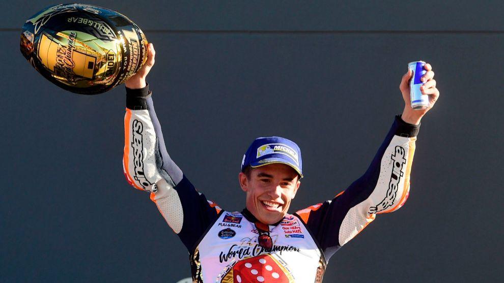 Marc Márquez celebra su título de campeón del mundo