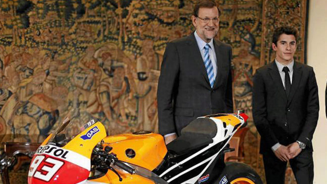 Rajoy, junto a Márquez en una visita de Marc a La Moncloa.