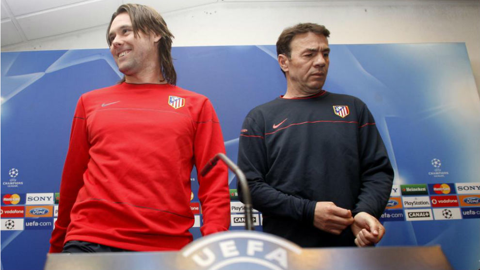 Maniche y Abel Resino en su etapa en el Atlético