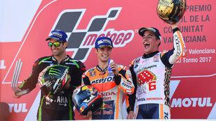 Pedrosa, Zarco y M�rquez. El podio de Cheste 2017