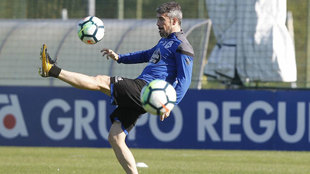 Luisinho, en un entrenamiento con el Deportivo