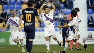 Jairo Izquierdo celebra el primer gol anotado por el Extremadura en La...