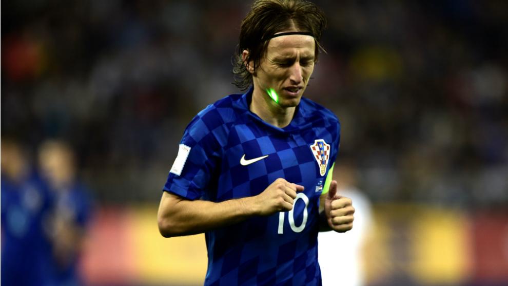 Modric, durante un lance del partido frente a Grecia.