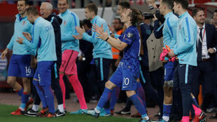 Modric, celebrando el final del partido