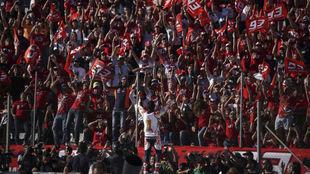 Marc Márquez celebra su cuarto MotoGP con sus fans