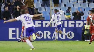 Pombo celebra su gol frente al Rayo.