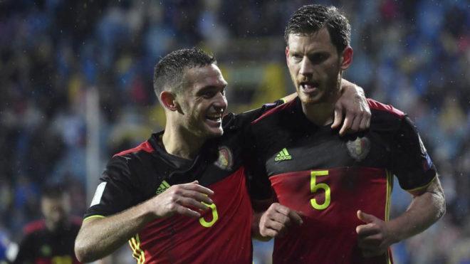 Vermaelen y Vertonghen, durante un partido con la selección belga.