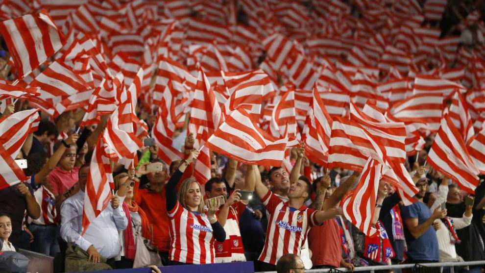 La afición rojiblanca en el Wanda Metropolitano