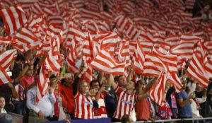 La afici�n rojiblanca en el Wanda Metropolitano