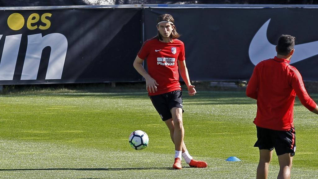 Filipe, en un entrenamiento con el Atlético.