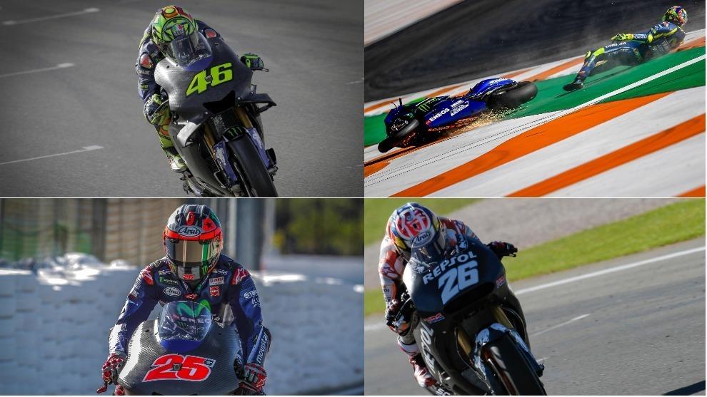 Rossi, Viñales y Pedrosa salieron de negro. El 46 se fue al suelo