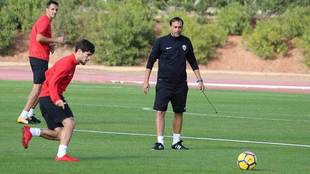 Fran Fernández, durante la sesión de entrenamiento de este martes