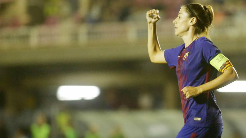 Vicky Losada celebra un gol ante el Avaldsnes en la Champions League.