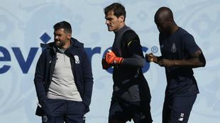 Casillas, Danilo Pereira y Conceiçao durante un entrenamiento