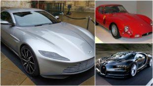 El Aston Martin DB10, el Ferrari 250 GTO y el Bugatti Chiron.