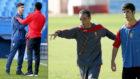 Asensio y Thomas se saludan antes de un Espanyol-Atl�tico y Oltra con...