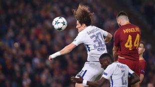 David Luiz en el partido en el Olímpico de Roma