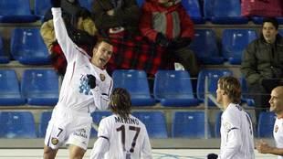 Cuéllar celebra el gol del triunfo del Nástic en Los Pajaritos hace...