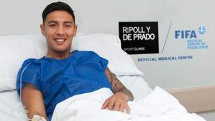 Leo Su�rez, tras la operaci�n a la que fue sometido el mi�rcoles.