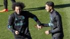 Marcelo y Achraf, durante un entrenamiento del Real Madrid