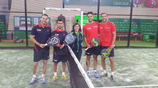 Las dos parejas españolas antes de disputar la final en Cascais.