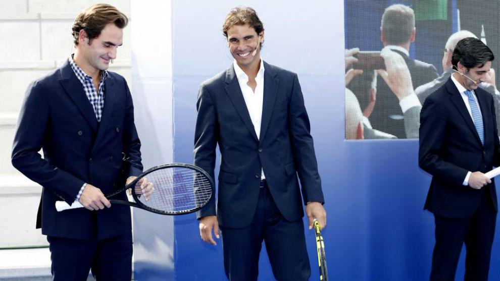 Nadal y Federer, en la presentación de la Rafa Nadal Academy