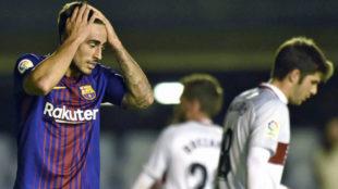 David Costas, en un partido del Bar�a B contra el Huesca
