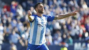 Borja Bastón celebra el gol de la victoria del Málaga