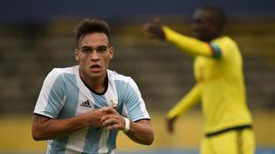 Lautaro Martínez celebra un gol en el Sudamericano sub 20