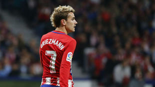 Griezmann, en el derbi ante el Real Madrid.
