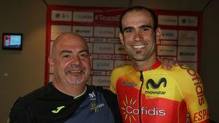 Luis Román posa con el internacional Lluís Mas en los pasados...