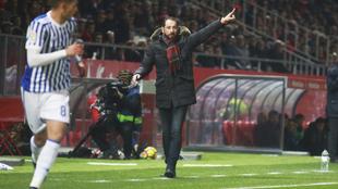 Pablo Machín, en el partido entre el Girona y la Real Sociedad