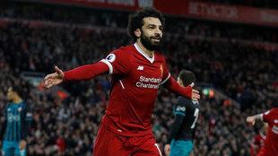 Salah celebra un gol ante el Southampton