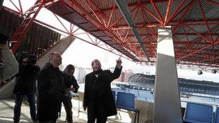 Abel Caballero en una visita a las obras de Balaídos.