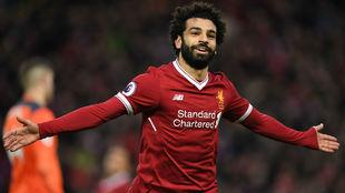 Salah, en un reciente partido con el Liverpool /