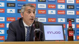 Ramón Robert, durante una rueda de prensa en el RCDE Stadium
