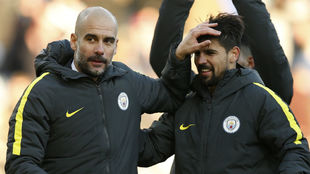 Guardiola y Nolito, juntos en el City.