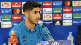 Asensio, durante la rueda de prensa previa al duelo ante el APOEL