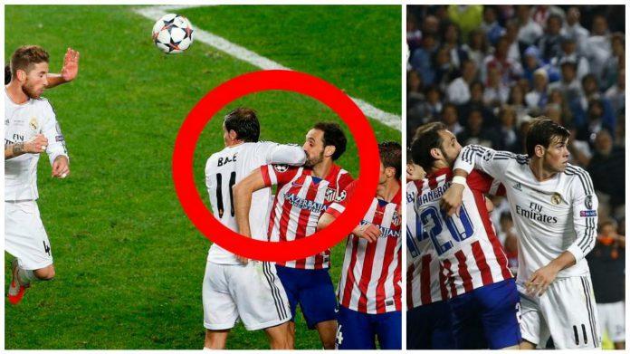 El 'bloqueo' de Bale a Juanfran en la final de Lisboa.