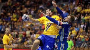 Dani Dujshebaev durante un partido de Champions