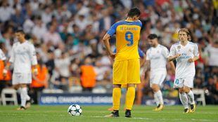 Igor de Camargo durante el partido de ida ante el Real Madrid en el...