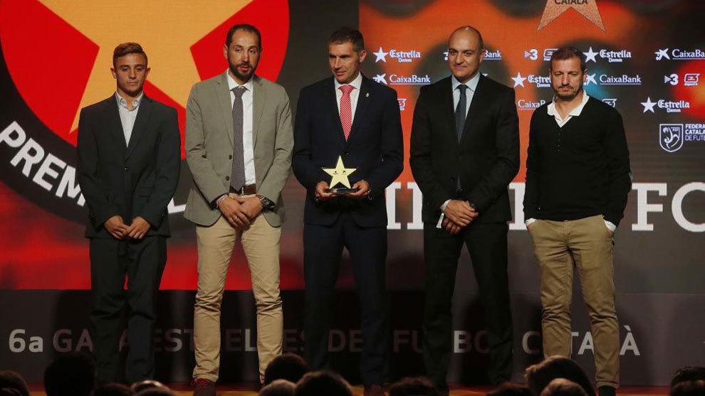 El Girona recoge el premio en la Gala de Fútbol catalán