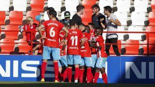 Los jugadores del Lugo celebran un tanto ante el Nástic
