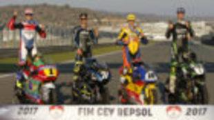 Los campeones del FIM CEV Repsol en 2017.