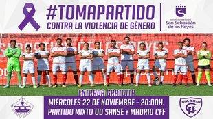 Cartel que promociona el partido mixto entre la UD Sanse y el Madrid...