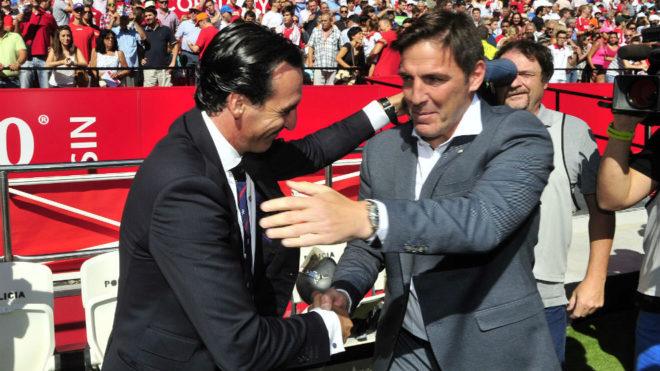 Emery y Berizzo se saludan antes de un Sevilla-Celta.
